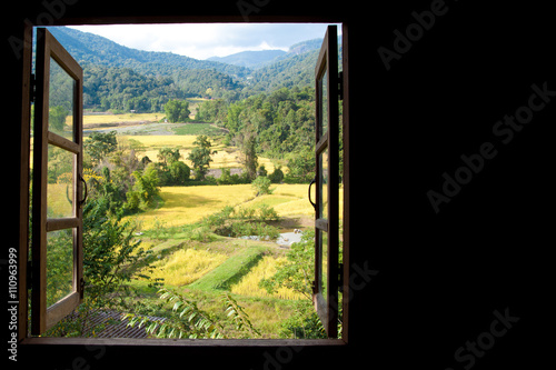 Recess Fitting Beige view from window at a wonderful rice terraces with space for text