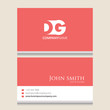 DG Logo | Business Card Template | Vector Graphic Branding Letter Element | White Background Abstract Design Colorful Object