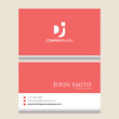 DJ Logo | Business Card Template | Vector Graphic Branding Letter Element | White Background Abstract Design Colorful Object