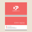 DP Logo | Business Card Template | Vector Graphic Branding Letter Element | White Background Abstract Design Colorful Object
