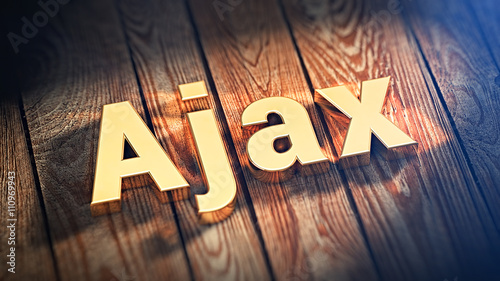 Photo Word Ajax on wood planks