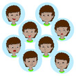Child face emotion gestures, vector illustration, set collection