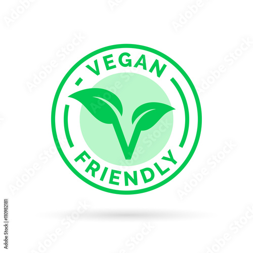 Vegan Icon Design Vegan Food Emblem Vegan Friendly Food Sign With