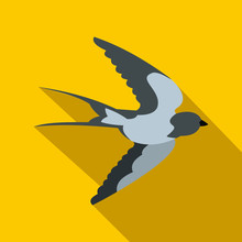 Flying Swallow Bird Icon, Flat...