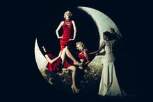 Woman In Dress On Moon