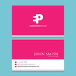 EP Logo | Business Card Template | Vector Graphic Branding Letter Element Combination | White Background Abstract Design Colorful Object | Negative Space Style