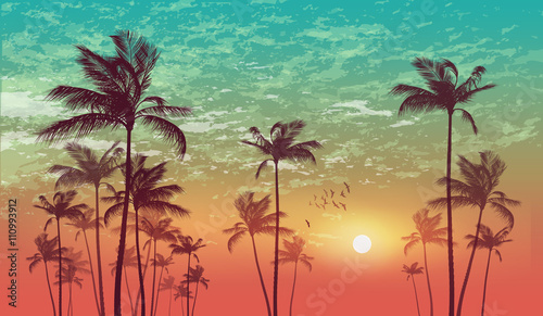 Exotic tropical palm tree landscape at sunset or moonlight, with cloudy sky. Highly detailed and editable