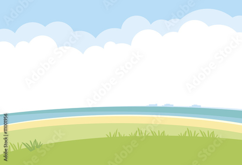 Poster Blanc simple landscape vector background. nature template with sea, gr