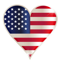 Flags Of USA In A Heart Shape ...