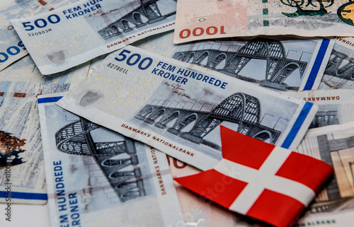 Photo  Danish kroner, currency from denmark in europe