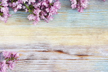 Fresh Lilac On The Wooden Vintage Background. Selective Focus.