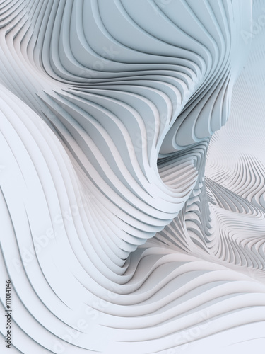 Abstract 3d rendering wavy band background surface Canvas Print