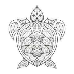 Adult coloring. Sea turtle.