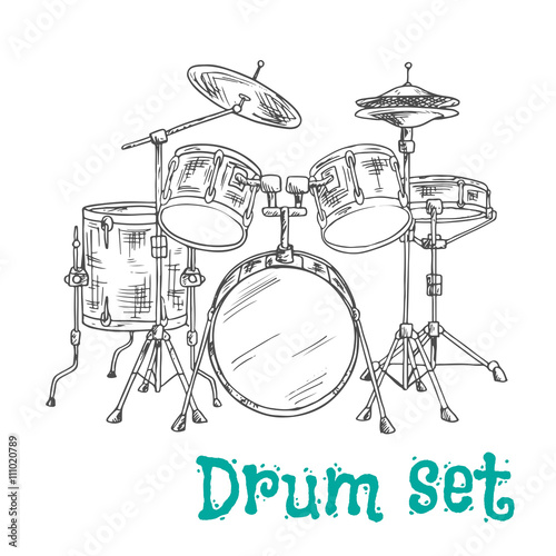 Five Piece Drum Kit Sketch Icon Buy This Stock Vector And Explore