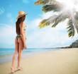 Woman in a tropical beach