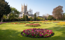 A View Of Bury St.Edmunds Cathedral Being Restored