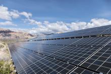 Solar Panels With Mojave Desert Backdrop