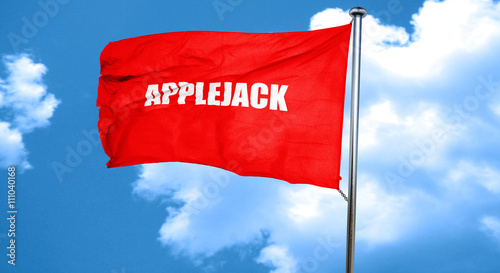 Photo  applejack, 3D rendering, a red waving flag