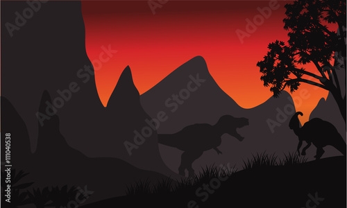 tyrannosaurus and parasaurolophus silhouette in hills Wallpaper Mural