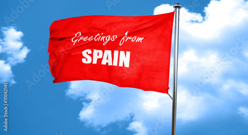 Greetings from spain 3d rendering a red waving flag buy this greetings from spain 3d rendering a red waving flag m4hsunfo