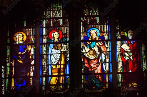 Fotografie, Obraz  Saint John Baptist Stained Glass Saint Severin Church Paris