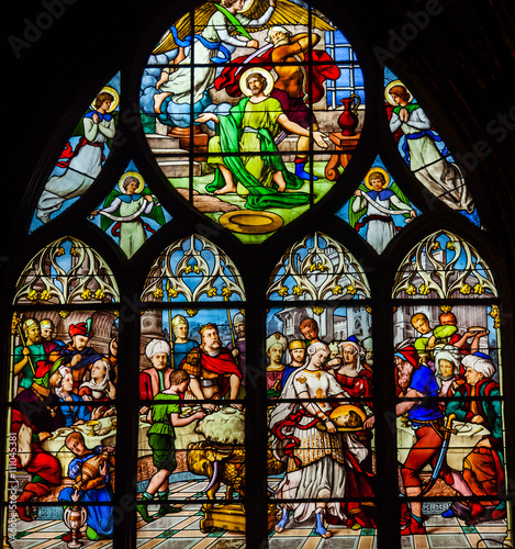Fotografia, Obraz  Saint John Baptist Stained Glass Saint Severin Church Paris