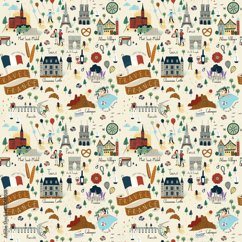 Tapety o tematyce podróżniczej jednolity-wzor-podrozy-francji