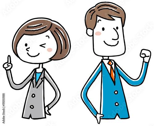 イラスト素材ビジネス スーツの女性 男性 ポーズ Acheter Ce Vecteur