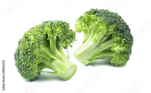 2 separate small broccoli isolated on white background 6 as vegetable package design element