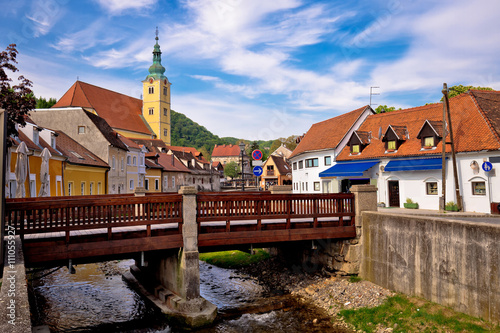 Aluminium Prints Eastern Europe Town of Samobor river and architecture