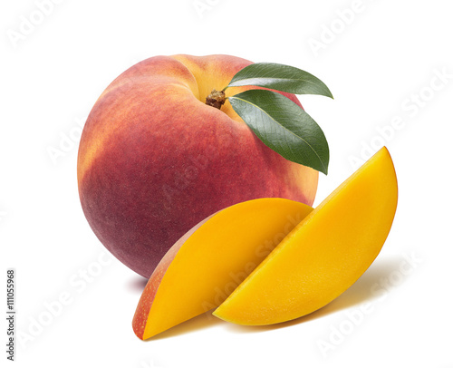 Peach mango long slices isolated on white background as package design element