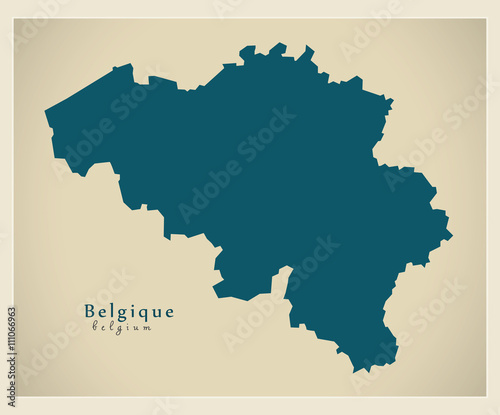 Canvas Print Modern Map - Belgium BE