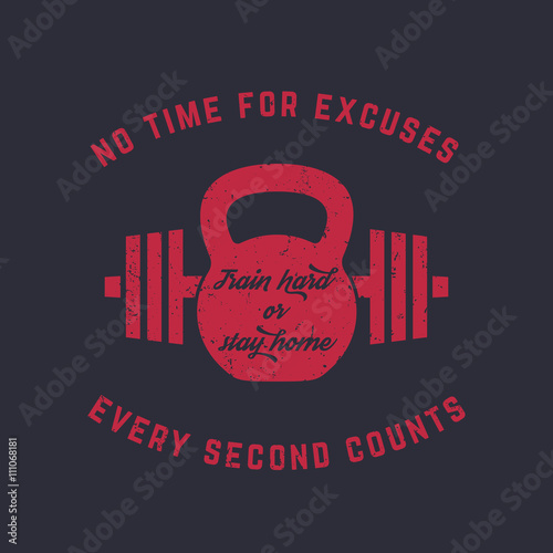 Train hard, vintage gym t-shirt design, print, kettlebell and barbell, red on da Fotobehang