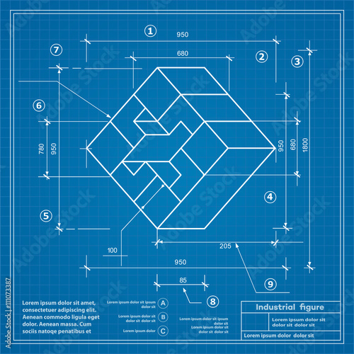 Industrial Construction Drawing Production Figures. Blueprint Background  Image