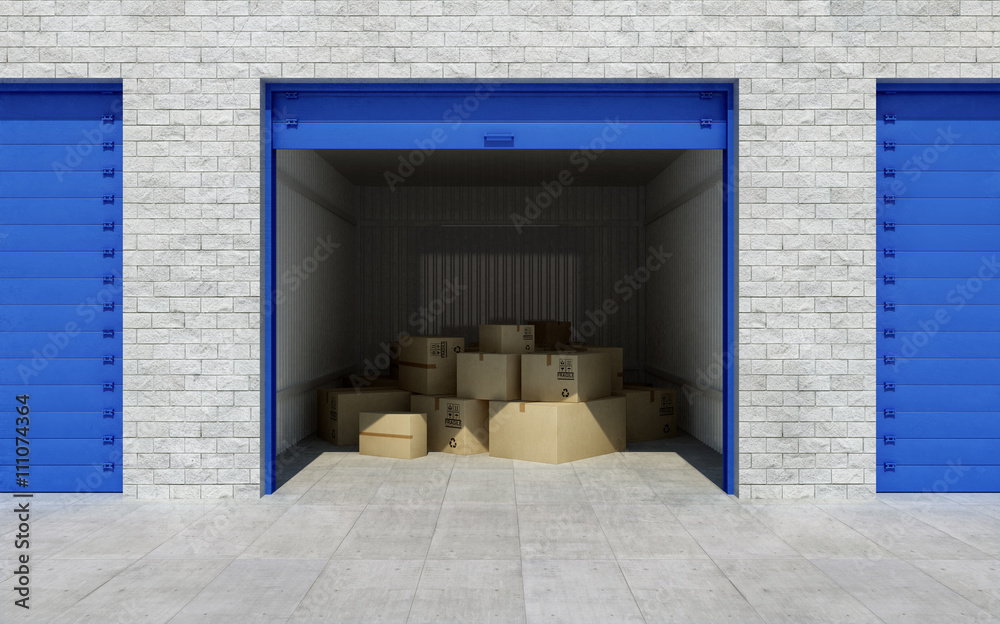 Fototapeta Open self storage unit full of cardboard boxes. 3d rendering