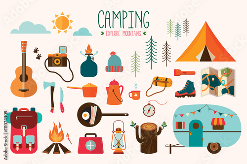 Stampa su Tela Camping equipment vector collection