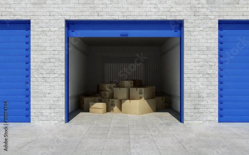 Fototapeta Open self storage unit full of cardboard boxes. 3d rendering obraz