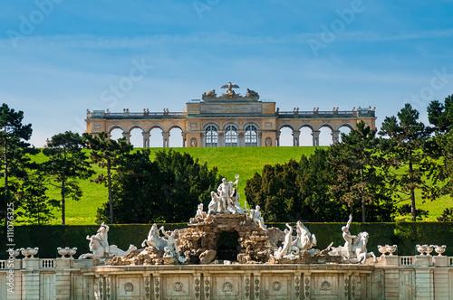 Neptune fountain in Schonbrunn Palace in Vienna, Austria