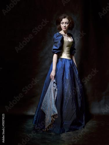 Fotografie, Obraz  Beautiful girl wearing a medieval dress