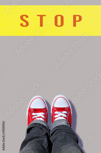 48405ce9a8366 red shoes with stop line - Buy this stock photo and explore similar ...