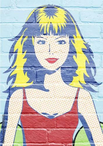 Art urbain, jeune femme Fotobehang