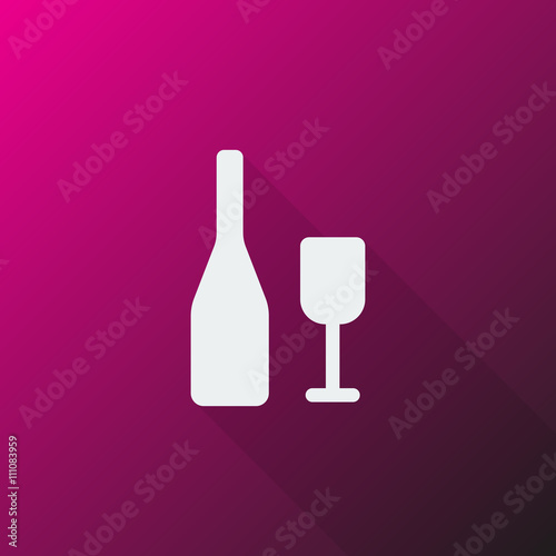 Foto op Canvas Alcohol White Wine icon on pink background
