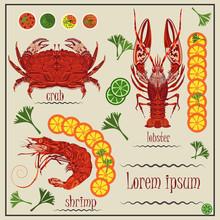 Menu Cancer, Shrimp, Crab, Lemon