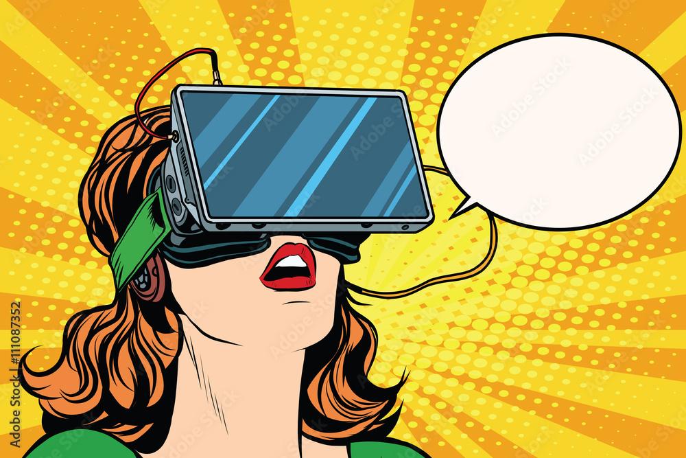 Fototapeta Retro girl with glasses virtual reality