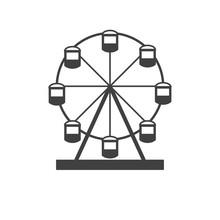 Ferris Wheel. Silhouette Of A Ferris Wheel. Icon Ferris Wheel Isolated On White Background.