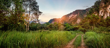 Beautiful Evening Landscape In Sunset Time, Path In The Cloud Field, Forest And Mountains At Khao Sok National Park, Surat Thani Province, Thailand.
