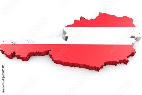 Fotografie, Obraz  Umriss Österreich 3D