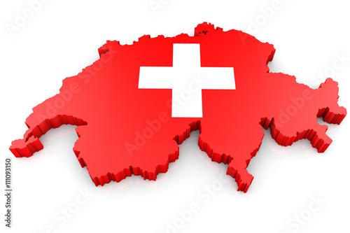 Fotografie, Obraz  Umriss Schweiz 3D