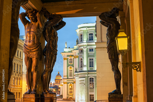 Statues of Atlants, St Petersburg, Russia Canvas Print