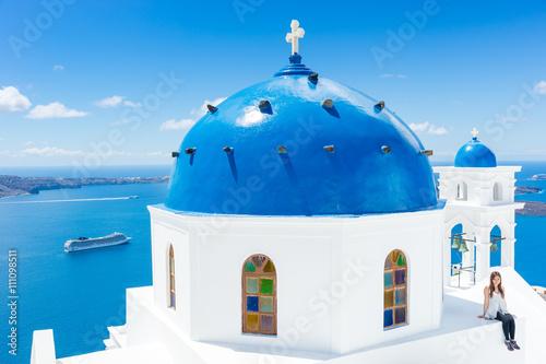 Obraz Landscape Santorini Island, Cyclades, Greece - fototapety do salonu